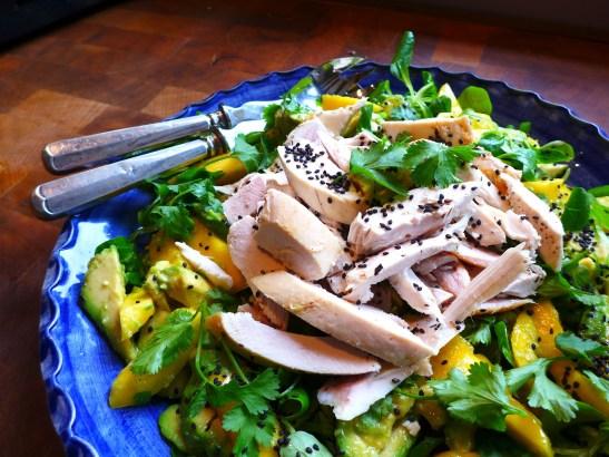 Image of chicken, mango and avocado salad