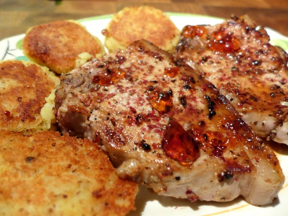 Image of pork chops with pink peppercorns