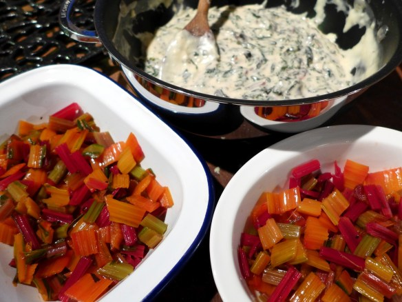 Image of chard gratin being prepared