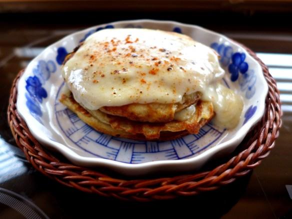 Image of ham and cheese pancake stack