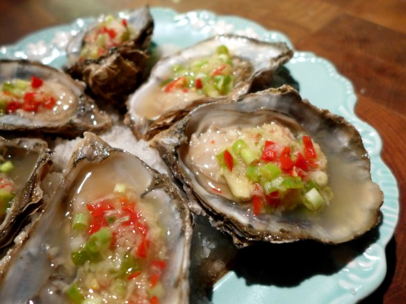 Image of oysters with asian dressing
