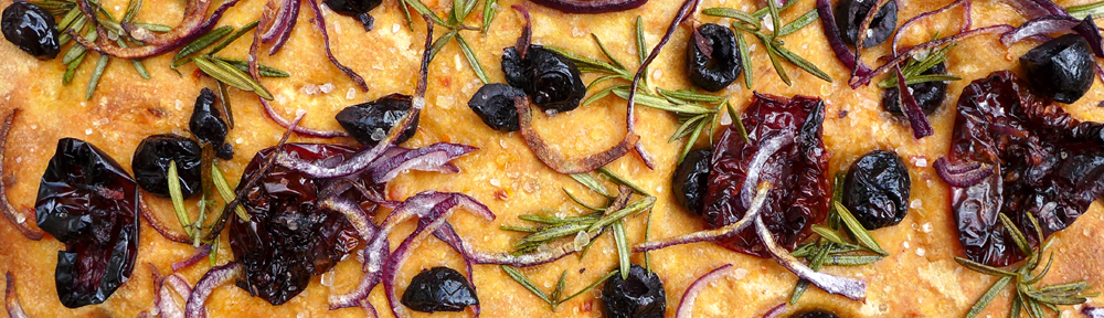 Image of tomato and olive focaccia