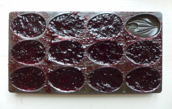 Image of damson cheese in chocolate mould