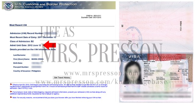 My old B2 Tourist Visa / CBP I-94 Arrival Admission Record | What is the difference between a K1 Visa expiry and I-94 expiration date?  |  © 2015 - onwards, CBP.gov, US Travel.State.Gov, MrsPresson.com Knowledgebase