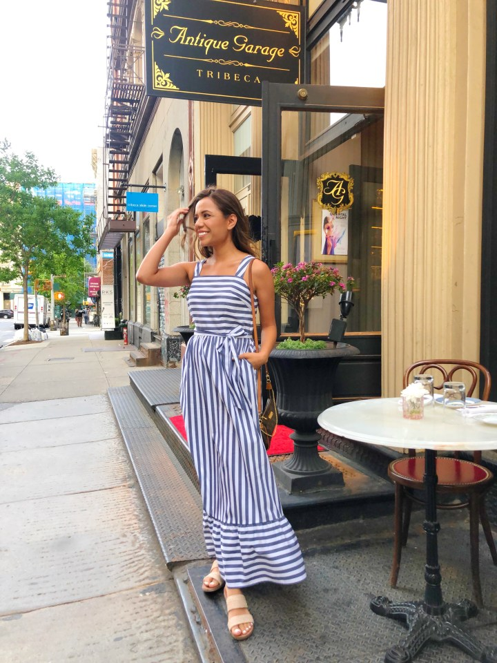 Blue Maxi Striped Dress