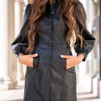 Fall Outfit Idea: Black Faux Leather Dress