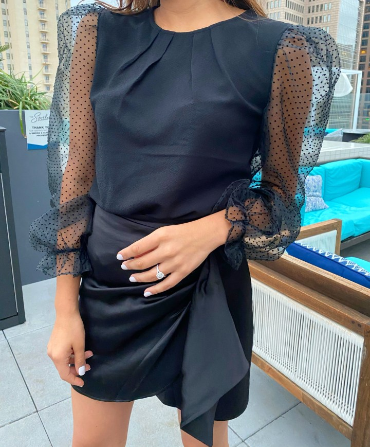 Evening Wear: Organza Sleeve Top & Skirt