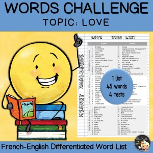Vocabulary Word List Love