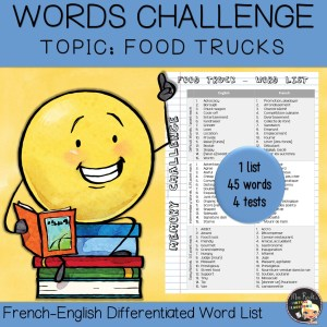 Vocabulary Word List Food Truck