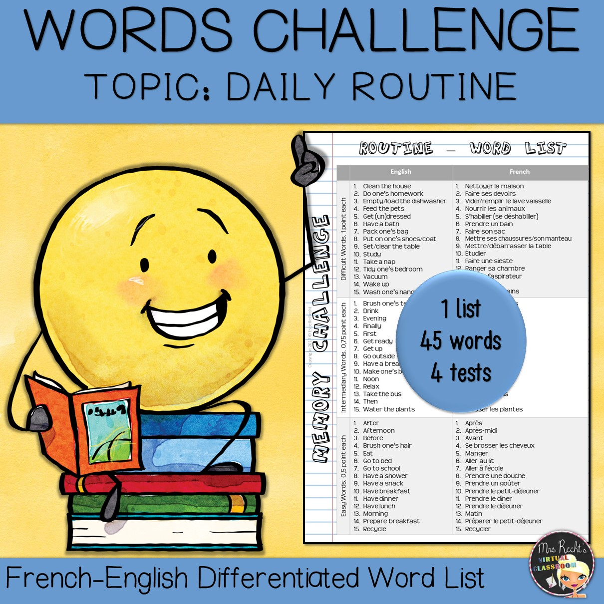 Vocabulary Word List Daily Routine Mrs Recht S Classroom