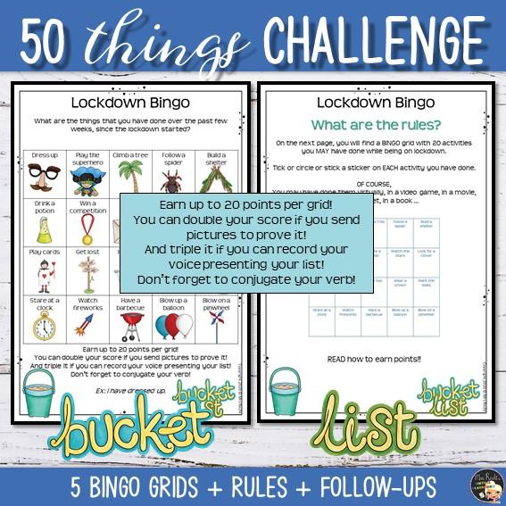 Activité Bucket List Bingo