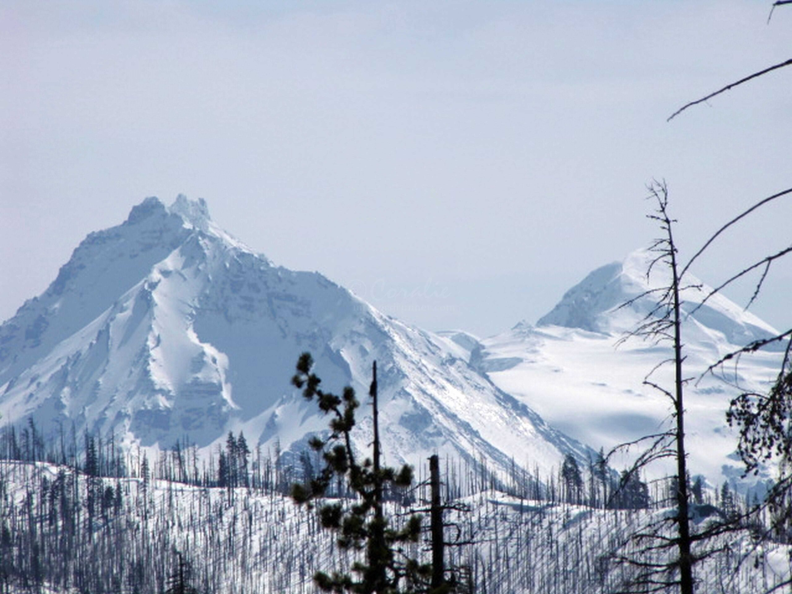 Snow Capped Three Sisters Mountains