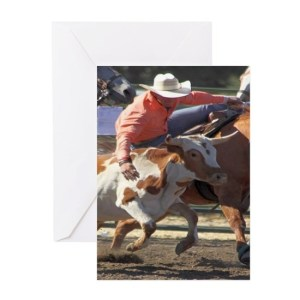 Bulldogging Steer Wrestling Greeting Cards