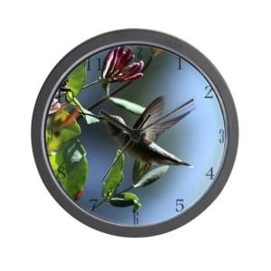 Hummingbird and the Honeysuckle Large Wall Clock