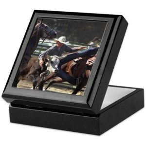 Bulldogging Rodeo Keepsake Box