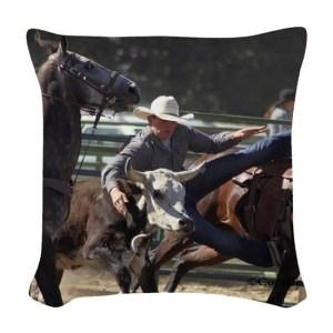 Bulldogging Steer Wrestling Rodeo Woven Throw Pillow