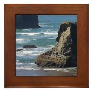 Pacific Ocean Beach Scene Framed Tile