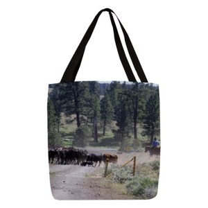 Cattle Drive Polyester Tote Bag