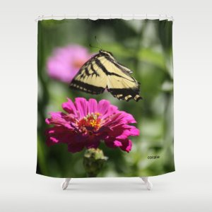 Colorful Swallowtail Butterfly Flying Shower Curtain