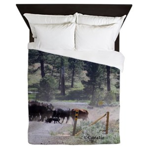Cowboy Moving Cattle Queen Duvet Cover