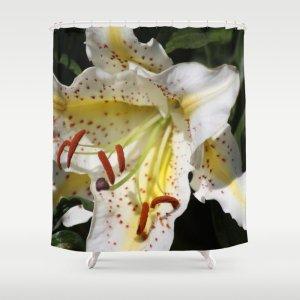 Flashy White Yellow Lily Flower Shower Curtain