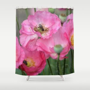 Pink Poppy Flowers With Honeybees Shower Curtain
