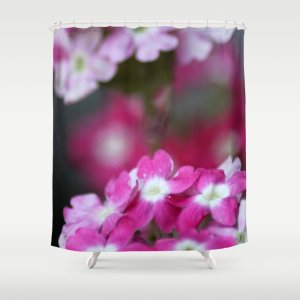 Pink White Verbena Flowers Shower Curtain