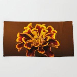 marigold flower Beach Towel