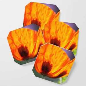 Orange Poppy Flower Coaster