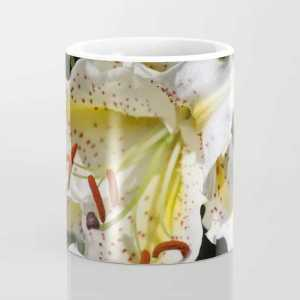 Flashy White Yellow Lily Flower Coffee Mug