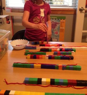 Measuring out noodles with Unifix Cubes