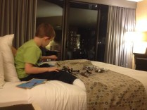 LEGO building in the hotel room
