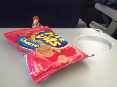 Enjoying an in-flight snack
