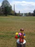 Enjoying the flowers on the White House lawn