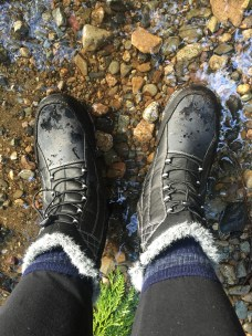 The runoff on the trails and my sexy wool socks