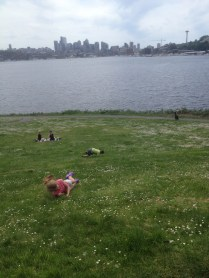 Rolling down the hills at Gasworks Park