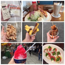I tried the famous fried octopus ball! Also found a peanut butter sandwich, coffee in a juice box, a hot dog, shaved ice, and fried sweet potato wedges. Japan makes THE BEST fried chicken.