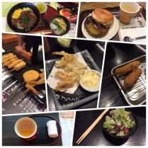 Beef and rice, matcha donut, kushikatsu, and Japanese caesar salad. Yum!