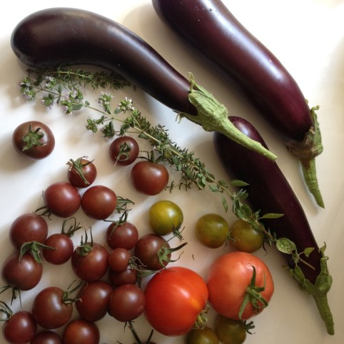 tomaten, aubergines en kruiden uit de moestuin