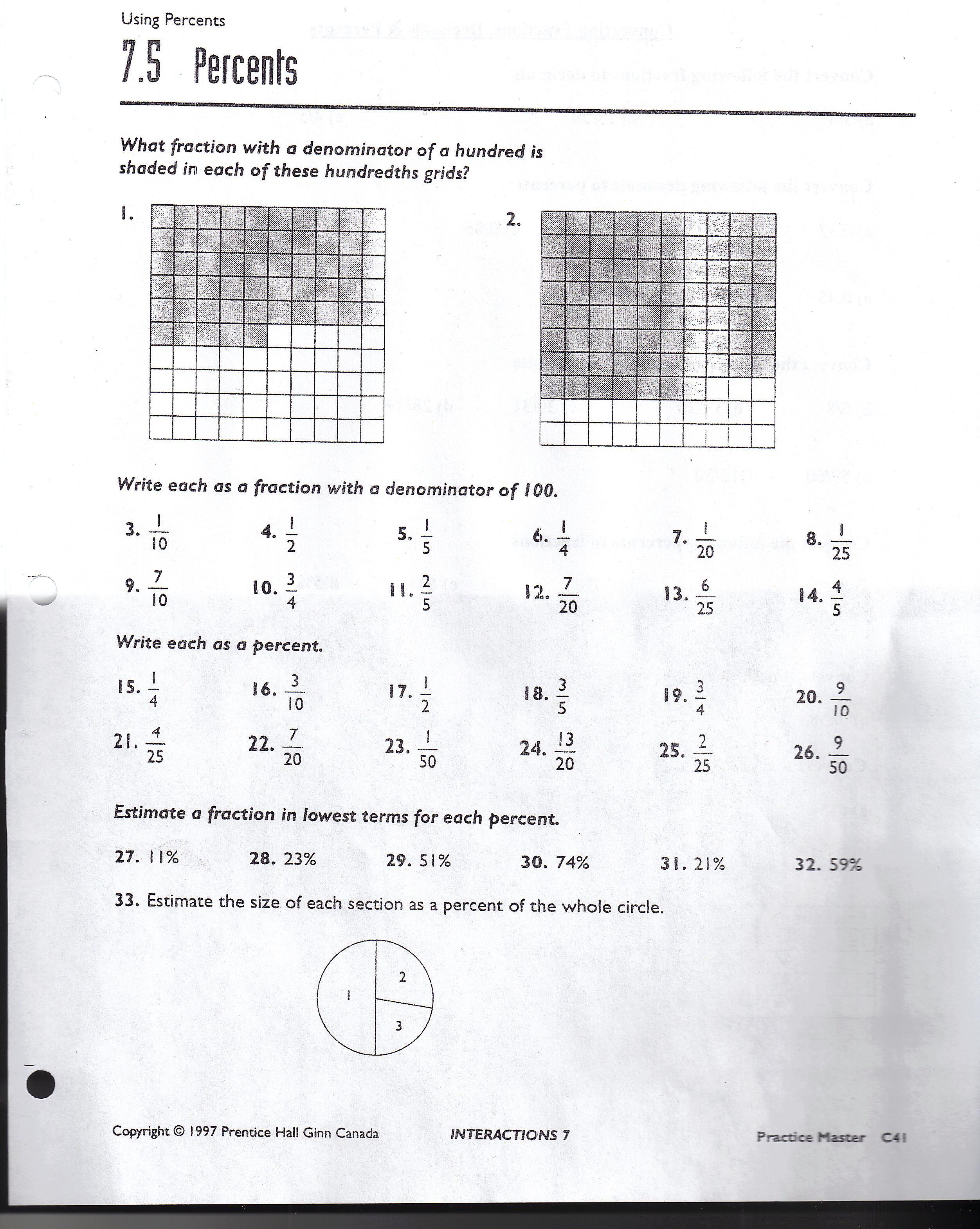 Basic Fraction Worksheet 130 131