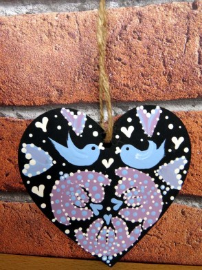 Hand-painted hanging heart