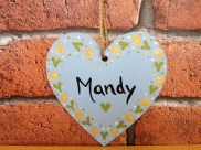 Hand-painted and personalised hanging heart