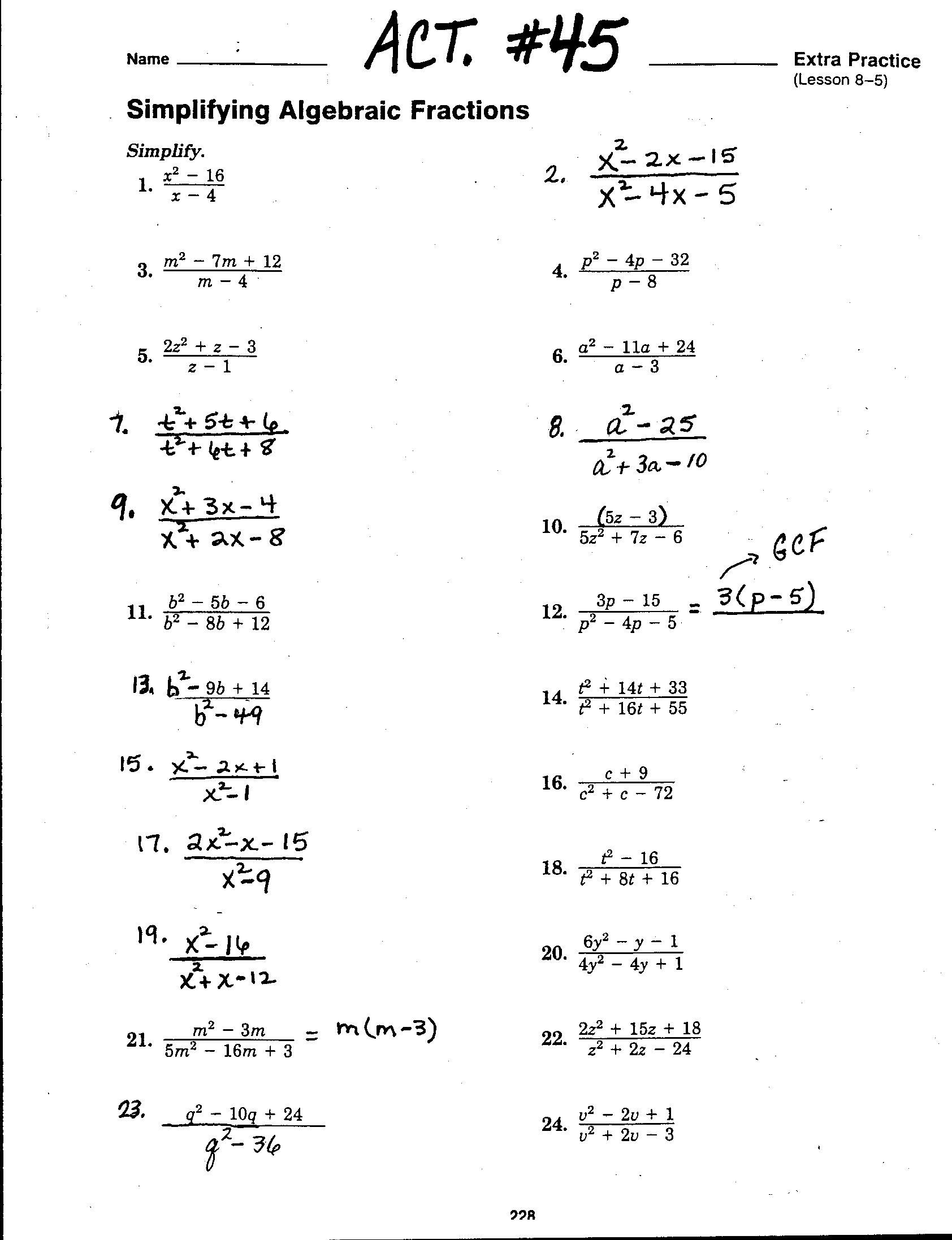 Solve Equations With Rational Coefficients Worksheet