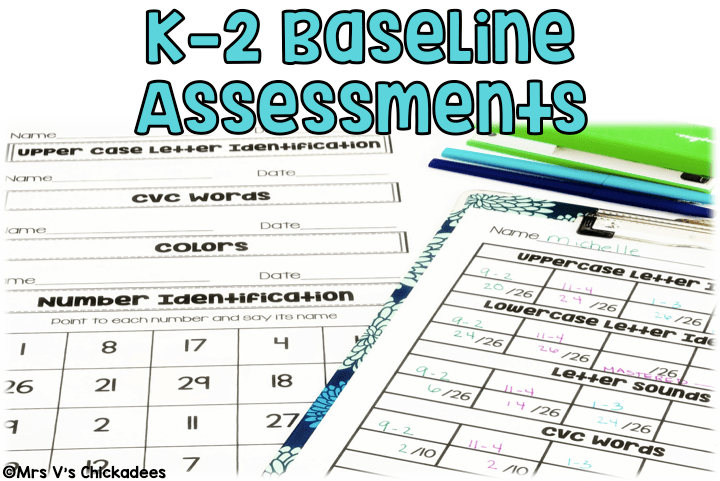 Kindergarten Baseline Assessment, data tracking forms and testing materials FOR THE YEAR! Great for general education and special education for progress monitoring and RTI purposes.