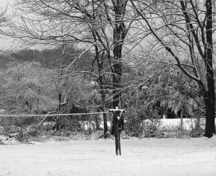 Clothesline under snow