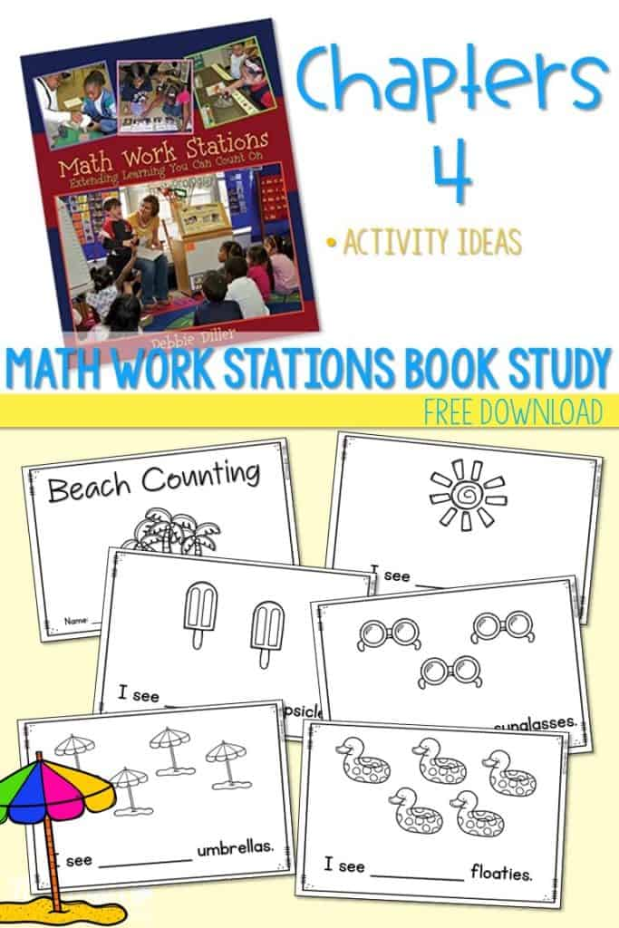 Math Work Stations Book Study Activities ideas.   What type of activities should you include in kindergarten math centers.  Free Files are included.