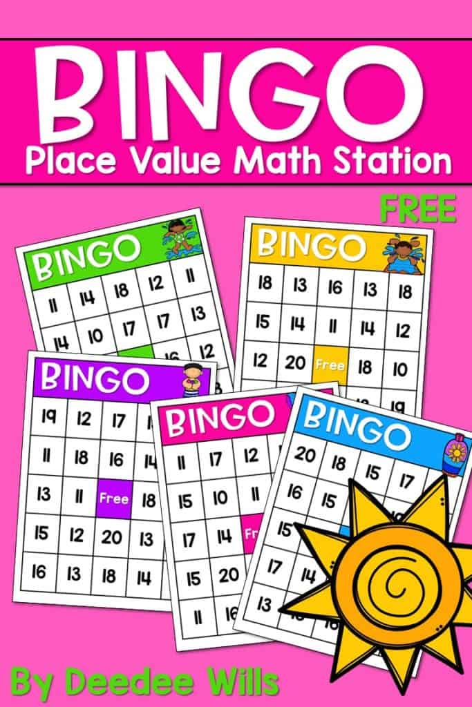 Math Work Stations Book Study Place Value activities. Free math center tasks for Kindergarten classrooms.