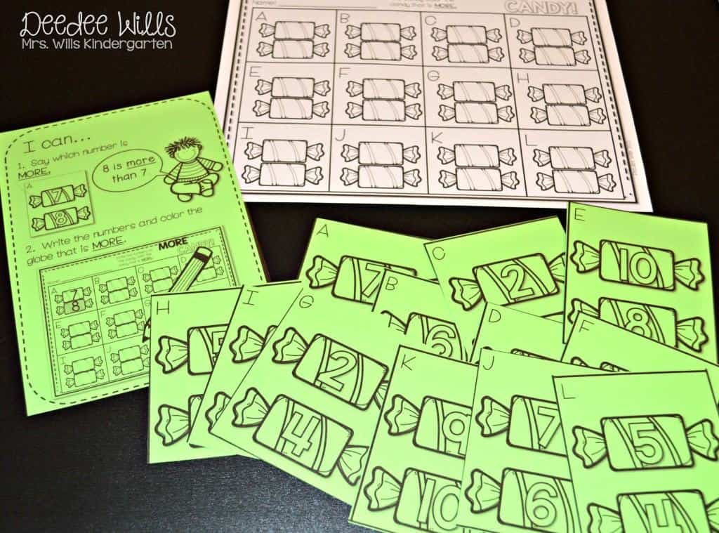 Here is a fall free file for kindergarten. Students will rhyme the number word to the pictures. Lots of fun math and literacy center ideas for October. Meaningful task cards help students work independently.