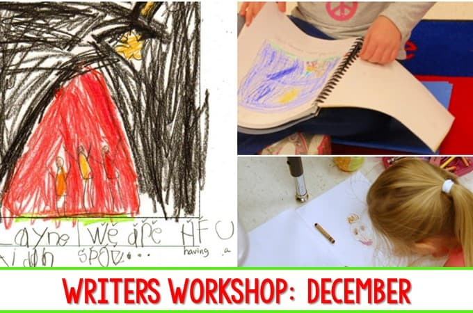 Writers Workshop December Kindergarten Writing. Here is a look at the progress we have made in December in Writers Workshop. #writing, #kindergartenwriting #writersworkshop