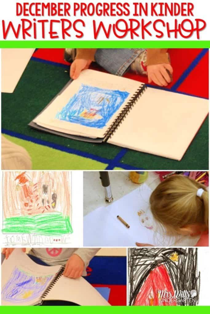 Writers' Workshop December Kindergarten Writing. Here is a look at the progress we have made in December in Writers Workshop. #writing, #kindergartenwriting #writersworkshop